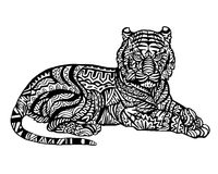 Etnisk djur klotterdetaljmodell - Tiger Zentangle Illustration vektor illustrationer