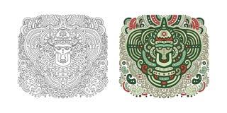 Etnisk förebild i den grafiska stilen Vektorillustration för en colo Arkivfoto