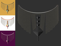 Etnisk geometrisk halslinje broderi Garnering för kläder royaltyfri fotografi
