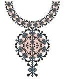 Etnisk halsbandbroderi för vektor för modekvinnor Stam- modell för PIXEL för tryck eller rengöringsdukdesign Smycken halsband royaltyfria foton