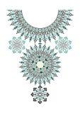 Etnisk halsbandbroderi för vektor för modekvinnor Stam- modelltryck för PIXEL eller rengöringsdukdesign smycken tyg royaltyfri illustrationer