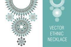 Etnisk halsbandbroderi för vektor för modekvinnor arkivfoto