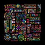 Etnisk handgjord färgrik prydnad för din design vektor illustrationer