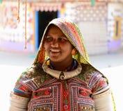 Etnisk kvinna i den traditionella klänningen från Gujarat Arkivfoton