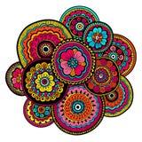 Etnisk mehndiprydnad indisk stil Blom- sammansättning för härlig klotterkonst Blom- teckning för klotter Zentangle prydnad stock illustrationer