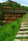 Etnisk minoritetby i det Guangxi landskapet, Kina Royaltyfria Foton