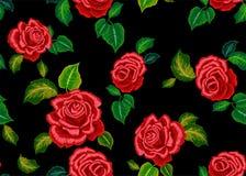 Etnisk modell för broderi med röda rosor för att bära för mode stock illustrationer