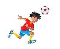 Etnisk pojke som spelar fotboll Royaltyfri Foto