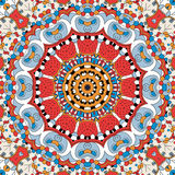 Etnisk prydnad för Tracerymehndi Likgiltigt diskret lugna motiv, användbar klottra färgrik harmonisk design vektor Arkivfoto