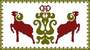 Etnisk prydnad med den stiliserade ariesen Royaltyfri Foto
