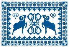 Etnisk prydnad med den stiliserade ariesen Royaltyfria Bilder