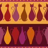Etnisk sömlös modell med katter och vaser vektor illustrationer