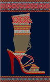 etnisk skokvinna Stock Illustrationer