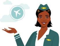 Etnisk stewardess för härlig afrikansk amerikan i plan stil royaltyfri illustrationer