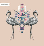 Etnisk stilsammansättning med flamingo tecknad handvektor Arkivfoton