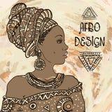 Etnisk ung afrikansk kvinnastående på grangebackground också vektor för coreldrawillustration Afro- design Fotografering för Bildbyråer