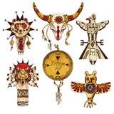 Etniska amerikanska totem färgad uppsättning Arkivbild