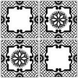 Etniska bevekelsegrunder, traditionell keramisk tegelplatta för tappning, prydnad i landsbohostil royaltyfri illustrationer