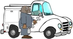 Etniskt arbetareanseende bredvid hans lastbil royaltyfri illustrationer
