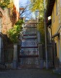 Etno adornó el paso de la escalera fotos de archivo