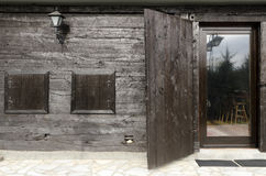Etno house details doors. Old Serbian house detail, black doors Stock Photo