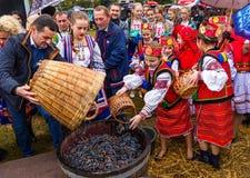Etnofestival Bobovischanske Grono-2016在Zakarpattya地区 免版税库存图片