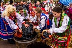 Etnofestival Bobovischanske Grono-2016在Zakarpattya地区 免版税库存照片