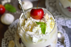 Eton mess with cherry. Stock Photography