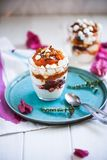 Eton mess with Roasted apricots and cherries royalty free stock photo