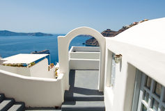 Etrance to the caved house with patio in Fira town on the Santorini (Thira) island in Greece. Stock Image