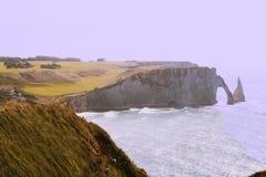 Etretat峭壁和海滩  免版税库存图片