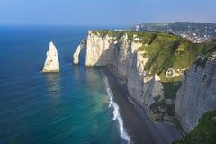 Etretat峭壁法国 库存图片