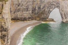 Etretat,法国彻特d'Albatre (雪花石膏海岸)是一部分的 库存照片