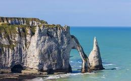Etretat,诺曼底,法国峭壁  免版税库存照片