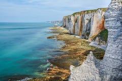 Etretat,诺曼底,法国雪花石膏海岸  库存图片
