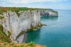 Etretat,诺曼底,法国雪花石膏海岸  免版税库存照片