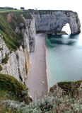 Etretat -诺曼底,法国的峭壁 免版税图库摄影