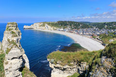 Etretat, aerial view of village on Normandy coast Stock Photo