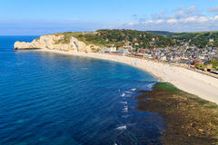 Etretat, aerial view of village on Normandy coast Royalty Free Stock Photos