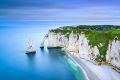 Etretat Aval cliff and rocks landmark and ocean . Normandy, Fran Royalty Free Stock Images