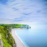 Etretat Aval cliff and rocks landmark and ocean . Normandy, France. Etretat Aval cliff, rocks and natural arch landmark and blue ocean. Aerial view. Normandy Stock Photography
