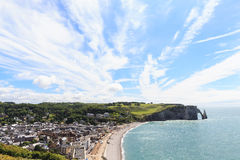 Etretat Aval cliff, rocks and natural arch landmark Royalty Free Stock Images