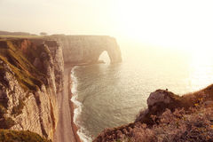 Etretat Aval Cliffs in Normandy Royalty Free Stock Images