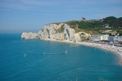 Etretat beach and cliffs, Normandy, France royalty free stock photo