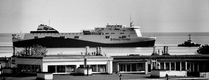 Etretat, Brittany Ferries. Artistic look in black and white. Stock Photo