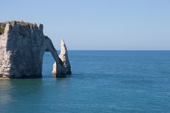Etretat cliff. The famous cliff at Etretat, with copy space Royalty Free Stock Photo