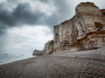 Etretat cliff and beach in Normandy, France Stock Photos