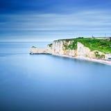 Etretat cliff, rocks landmark and ocean . Normandy, France. Etretat cliff, rocks, natural arch landmark and blue ocean. Aerial view. Normandy, France, Europe Stock Image