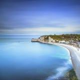 Etretat cliff, rocks landmark and ocean . Normandy, France. Royalty Free Stock Photos