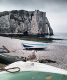 Etretat cliff and seagull in Normandy, France. Etretat cliff and a seagull on the beach in Normandy, France Stock Photo